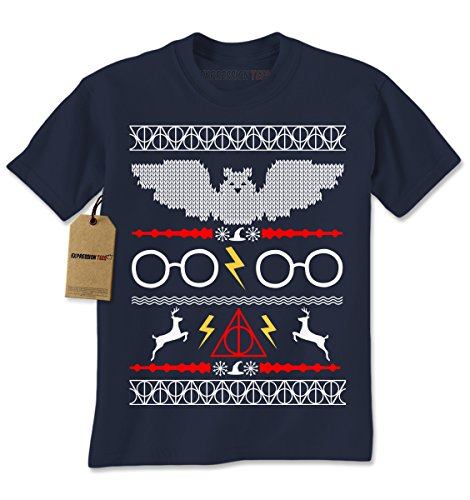 Fawkes Phoenix Costume (Mens Harry Potter Fawkes Gryffindor Ugly Christmas Sweater T-Shirt Medium Navy Blue)