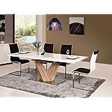 Ensemble table à manger à rallonge et 6 chaises de salle à manger blanc brillant 90 x alaras 160–220 x 75 cm bois de chêne sonoma