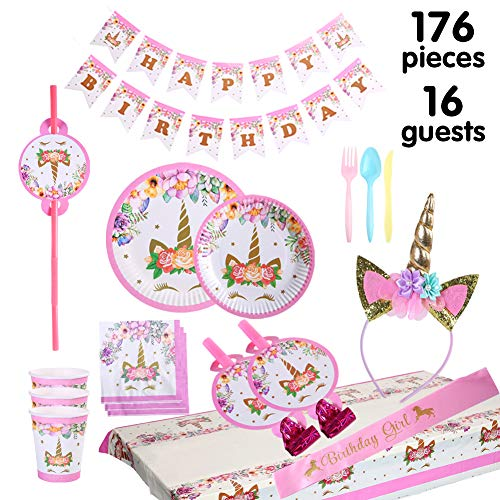 Unicorn party supplies and decorations set 176 piece for birthday party-Serves 16 guests-birthday bunting,straws,blowouts whistles,Unicorn headband,pink satin sash for girls,Unicor (A-pink)