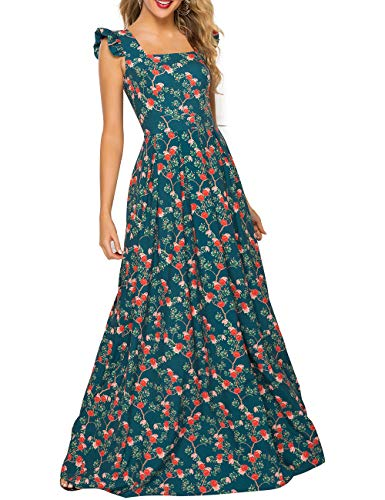 Floral Flutter Sleeve Dress - Simple Flavor Women's Sleeveless Floral Maxi Dress Casual Summer Long Dress (0686Green,XL)