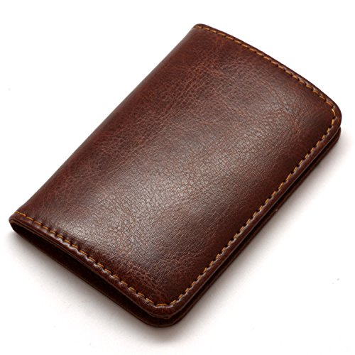 Leather Business Card Holder (Partstock Premium Stainless Steel & Smooth PU Leather Business Name Card Holder Credit Card Case / ID Case with Magnetic Shut. Perfect Gift - Brown)