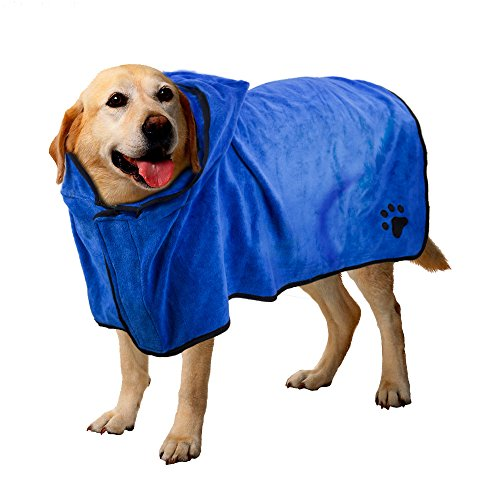BASEN Pet Bathrobe, Fast Dry Pet Bath Towel, Quickly Absorbing Water Bath Robe for Dog and Cat (XL)