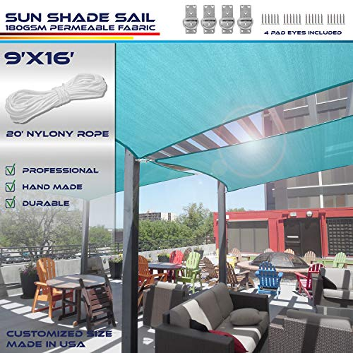 Windscreen4less 9 x 16 Sun Shade Sail Rectangle Canopy in Turquoise with Commercial Grade 3 Year Warranty Customized Size Included Free 4 Pad Eyes