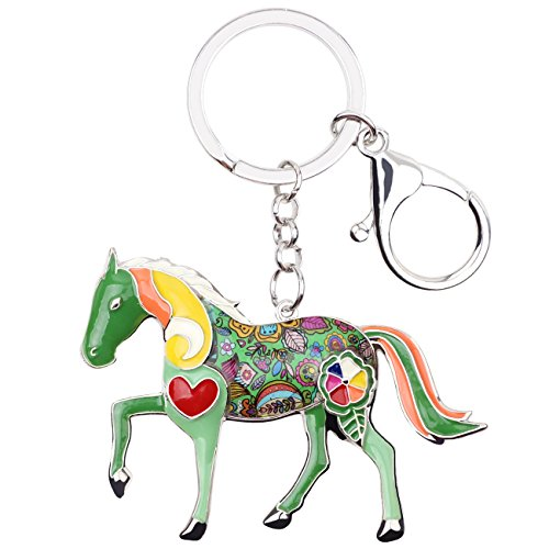 Enamel Metal Horse Key chains For Women Girls Gifts Car Purse Animal Pendant Charms toy ()