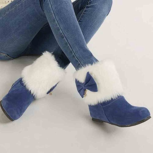 Easemax Womens Sweet Fluffy Bows Rhinestones Round Toe Mid Hidden Heel Slip On Boots Blue z6CexGOxy