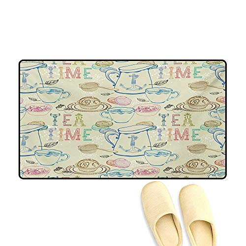 Doormat,Pale Colored Tea Time Themed Image with Various Kitchenware and Sweets Pattern,Bath Mats -