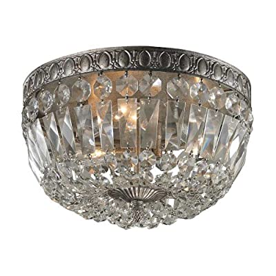 Elk 11480/3 3-Light Flush Mount with Clear Crystal, 12 by 8-Inch, Sunset Silver Finish