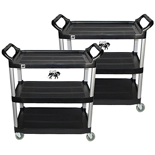Luxor Book Truck - Rolling Utility Cart, Crayata Multi-Purpose 3 Shelf Cart with Heavy Duty Plastic Shelves and Oversized Wheels, 350 Pound Weight Capacity, 2 Pack, Black (Small)