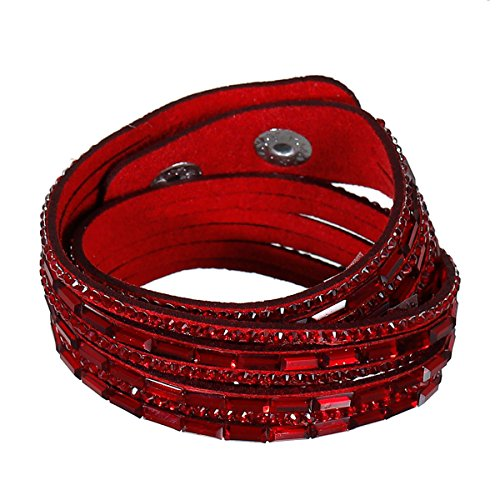 SS Suede Velvet Multi Layer Wrap Women Teen Girls Bracelet with Rhinestones Slake Button Clamp Adjustable (Red) Suede Fashion Bracelet