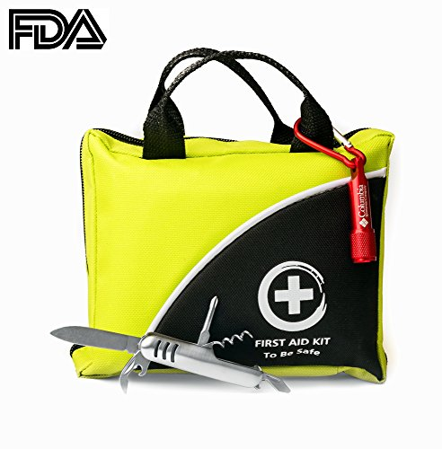 First Aid Kit 150 Piece The Only One With Flashlight And Multi-Use Knife - Ideal Emergency Kit - FDA Approved Glow in the Dark ifak For Camping Sport Outdoor Car Home Travel Hiking Safety Survival