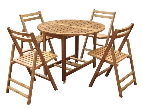 Folding Round Dining Table Set -  - patio-tables, patio-furniture, patio - 513PR0zl4nL -
