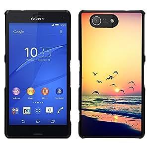 Puesta de sol Gaviota Océano Verano Naranja- Metal de aluminio y de plástico duro Caja del teléfono - Negro - Sony Xperia Z4v / Sony Xperia Z4 / E6508
