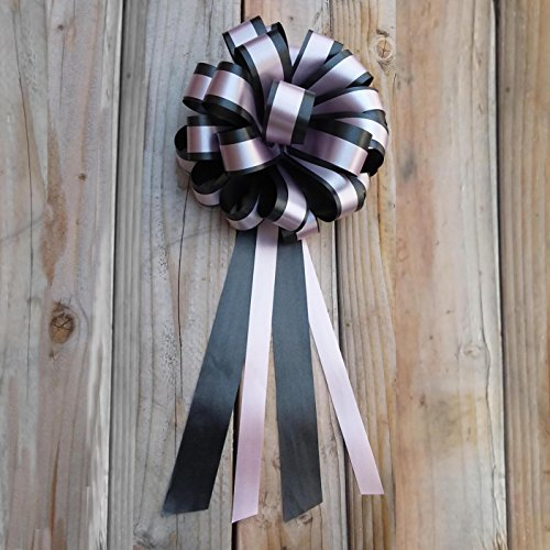 Black & Rose Petal Pink Striped Wedding Pull Bows with Tails for Church Pews and Chairs - 8