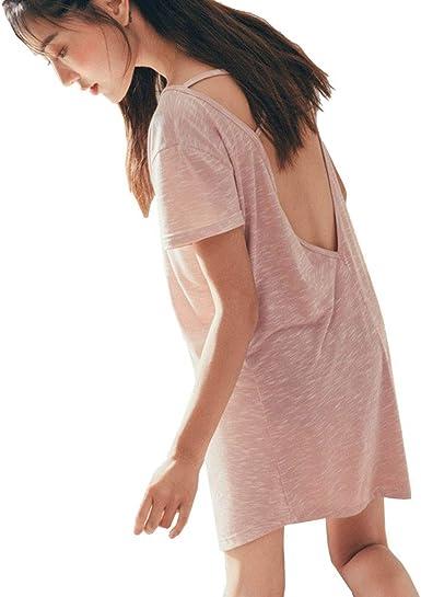 Camisón Mujer, Verano Algodón Manga Corta Camisónes, Cuello en V Vestido Abrir de Nuevo Camisones Loungewear, Pink, M: Amazon.es: Ropa y accesorios