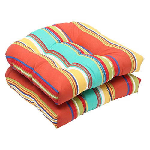 Pillow Perfect Outdoor Westport Spring Wicker Seat Cushion, Multicolored, Set of 2