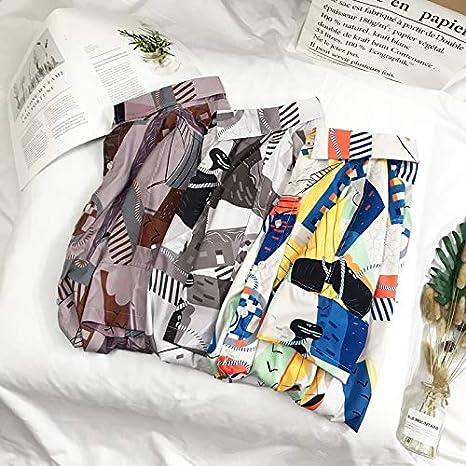 DXHNIIS Camisa Vintage Impresa geométrica de los Hombres Camisas de la Calle del Verano de los Hombres Camisas de Manga Corta XL marrón: Amazon.es: Deportes y aire libre