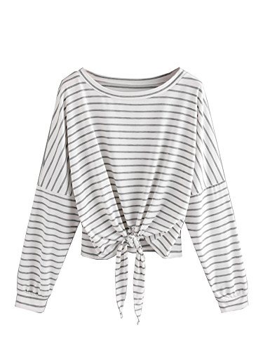 SweatyRocks Women's Crop T-Shirt Tie Front Long Sleeve Cut Out Casual Blouse Top (Medium, White#1)