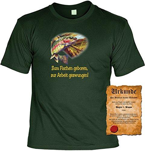 T-Shirt mit Urkunde - Zum Fischen geboren, zur Arbeit gezwungen - lustiges Sprüche Shirt als Geschenk für Angler mit Humor - NEU mit gratis Zertifikat!