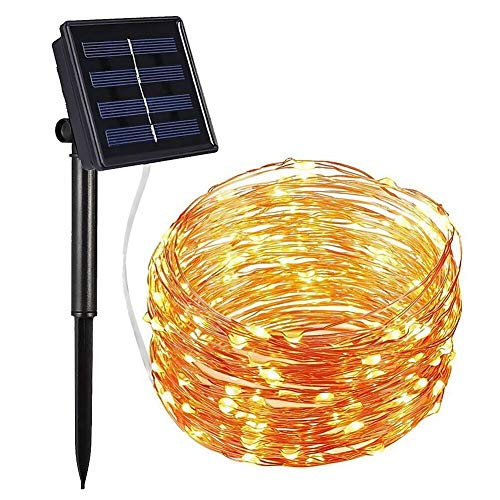 Lights Mini Solar (Solar String Lights 100 LED Copper Wire Lights 8 Modes Outdoor Fairy Lights 33 ft Waterproof Starry Decorative Lights for Garden, Patio, Gate,Yard, Party, Wedding,LED Light Curtains (Warm White))