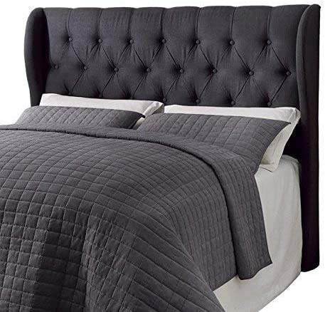 Eastern King California King Murrieta Headboard with Button Tufting Charcoal