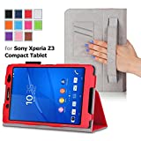 For Sony Xperia Z3 Compact Tablet 8-inch QUALITY PU LEATHER FOLIO PROTECTIVE SMART CASE, COVER, STAND with MICROFIBER INNER, STYLUS SLOT, Hand Strap and Credit Cards / ID Holders! RED.