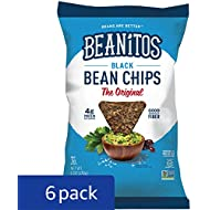 Beanitos Black Bean Chips with Sea Salt, Plant Based Protein, Good Source Fiber, Gluten Free, Non-GMO, Vegan, Corn Free Tortilla Chip Snack, 6 Ounce (Pack of 6)