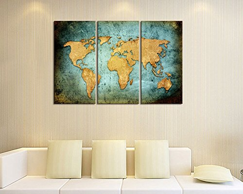 Large size vintage world map poster printed on canvasblue sea large size vintage world map poster printed on canvasblue sea yellow map printing mural art for wall framed and stretchedworld map canvas prints for gumiabroncs Image collections