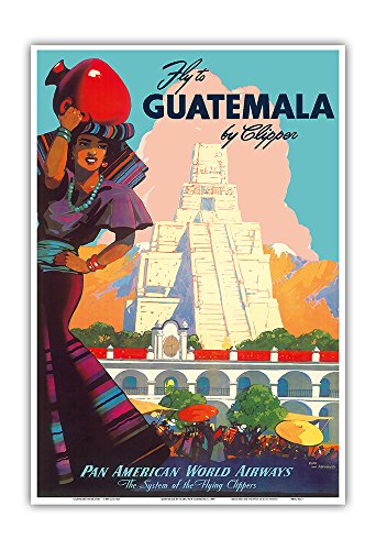 Guatemala by Clipper - Pan American World Airways - Tikal Mayan - Vintage Airline Travel Poster by Mark Von Arenburg c.1949 - Master Art Print - 13in x 19in (1949 Print Vintage)
