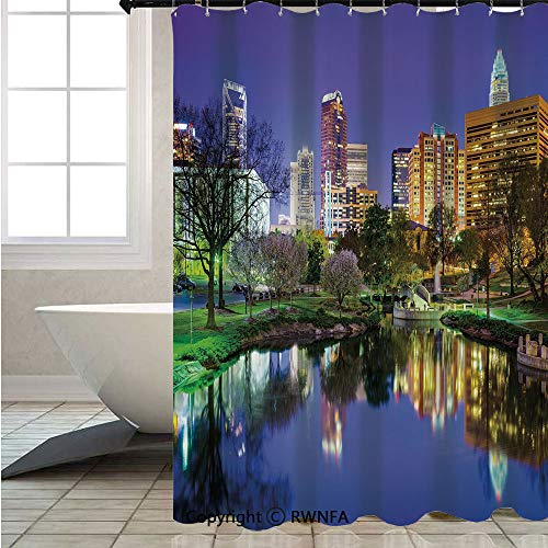 RWNFA Shower Curtains for Bathroom Shower,North-Carolina-Marshall-Park-United-States-American-Night-Reflections-on-Lake-Photo,W72xL78.7inch,Set with Hooks,Multicolor