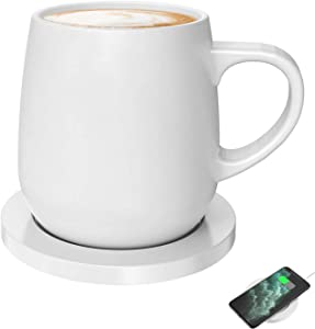 Coffee Mug Warmer with plugged in for 24W Self-heating Warmer, Smartphone Wireless Charging Warmer for home office desktop use , warmer heat up to 55?/131? (White)