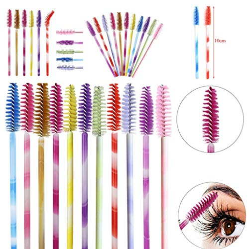 Eye Shadow Applicator Disposable 2019 New 50pcs/set Disposable Mascara Brushes 10cm Mascara Wands Eyelash Extention Brushes 9 Colors Diy Eye Makeup Tool