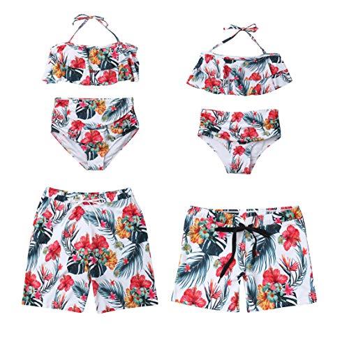 Family Matching Swimwear Dad and Boys Swim Trunks Mom and Girls Floral Swimsuit Beachwear Bikini Monokini White