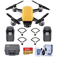 DJI Spark Mini Drone - Sunrise Yellow - Bundle With Go Professional Cases Fly More Case, Intelligent Flight Battery Propeller Guard, 32GB MicroSDHC U3 Card, Cleaning KIt