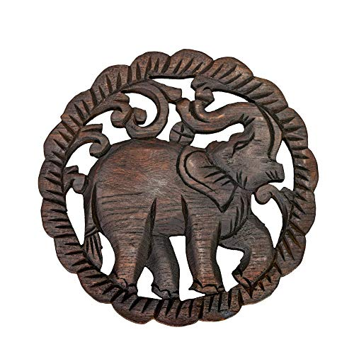AeraVida Charging Elephant Hand Carved Teak Wood Relief Panel Wall Art