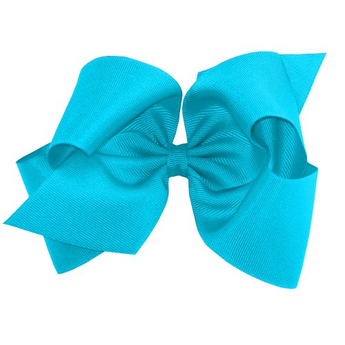 (Wee Ones Baby Girls' King Grosgrain Hair Bow on Barrette w/Plain Wrap - Turquoise)