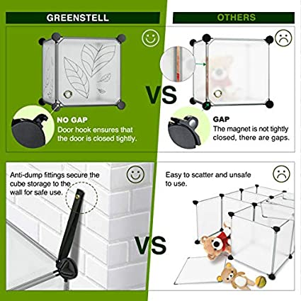 Ropa Estantes de Pl/ástico Apilables DIY Estanter/ía de Armario para Libros Blanco Multifuncionales Modulares Greenstell 12 Cubos Organizadores para Almacenamiento con Puertas