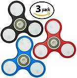 Funsparks LED Fidget Spinner - 1 Black 1 Red 1 Blue All In One Pack
