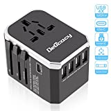 Universal Travel Adapter,Delicacy Worldwide All in One Adapter Converter with Fast Charging 4 USB and Type C Ports,International Wall Charger AC Plug for US EU UK AUS Cell Phone Tablet Laptop