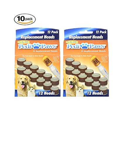 10 Pack PediPaws Replacement Filing Heads 12 Replacement Heads per unit- As Seen on TV
