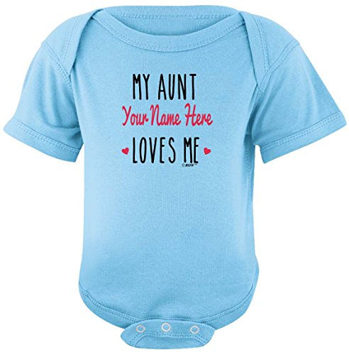 Personalized Bodysuit Sayings Personalized Aunt Gift My Aunt Loves Me Bodysuit Newborn Light Blue ()