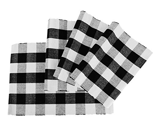 (Organic Cotton Placemat - Cotton Placemats for Dining Table - Cloth Placemats for Kitchen Table - Plaid Placemats Set of 4 - Plaid Placemat Cotton (Place Mat (13 x 18), Checked (White and Black)))