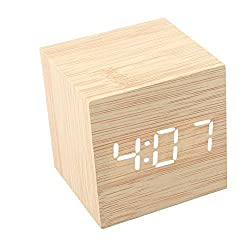 LED Digital Alarm Clock Sound Activated USB/AAA Batteries Powered Wooden Cube Clock with Calendar Thermometer Perfect for Desktop Home Office Travel (Bamboo Clock/White Light)