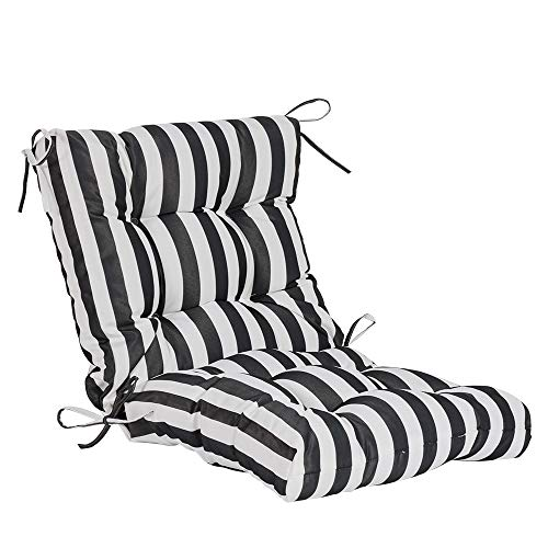 QILLOWAY Outdoor Seat/Back Chair Cushion Tufted Pillow, Spring/Summer Seasonal Replacement Cushions. (White&Black Stripe) (Black Cushions Wicker Seat)