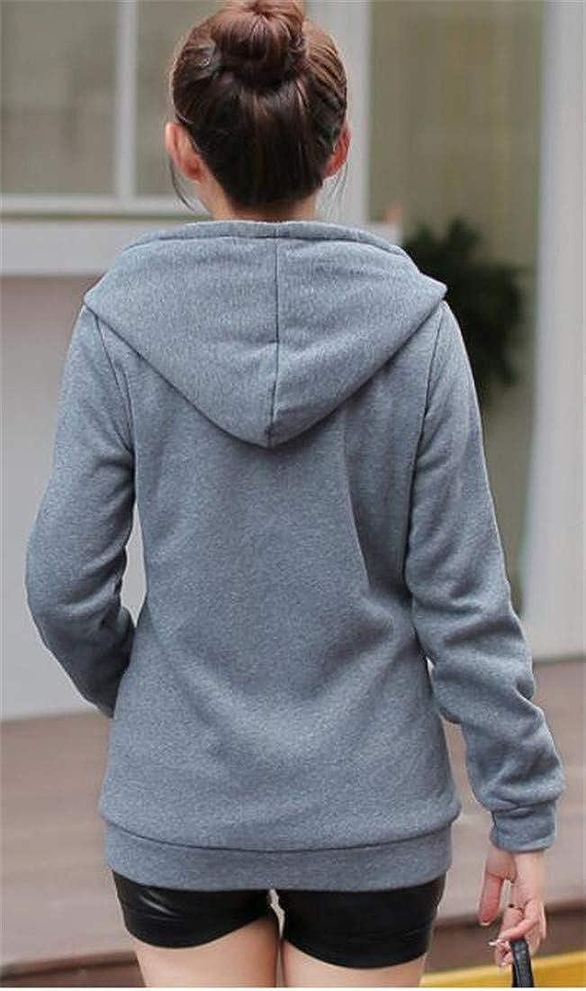 Wofupowga Womens Winter Hooded Zipper Front Wool Lined Sweatshirts Coat Jacket