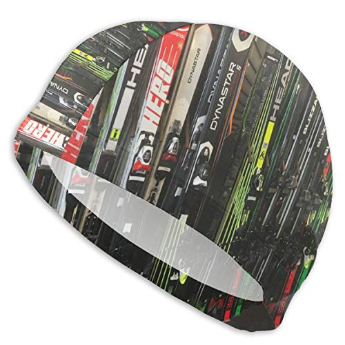 KIENGG Swim Cap for Women Men Twin Tip Snow Skis Long Hair Polyester Spandex Swimming Cap for Girls -