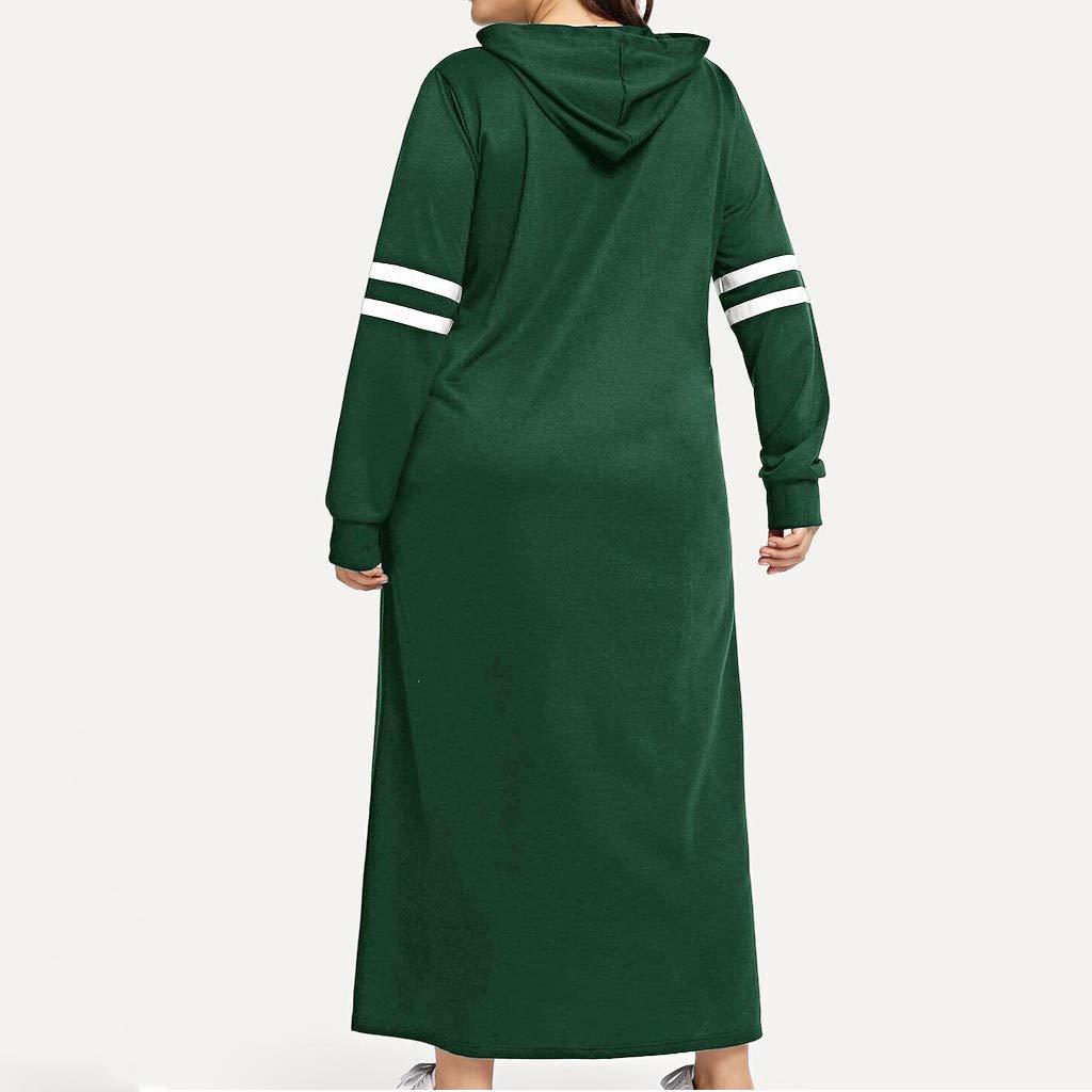 OHQ Damen Kapuzenpullover Sweatshirtkleid Gro/ß Hoodie Lange Pullover Kapuzenjacke Mantel Strickjacke Jacke Sweater Streetwear Streifen Kapuzenpulli Oberteil Sweatjacke