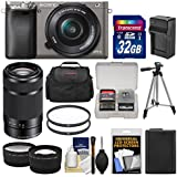 Sony Alpha A6000 Wi-Fi Digital Camera & 16-50mm Lens (Graphite) with 55-210mm Lens + 32GB Card + Case + Battery/Charger + Tripod + Tele/Wide Lens Kit