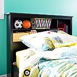 South Shore 39-Inch Vito Bookcase Headboard, Twin, Pure Black
