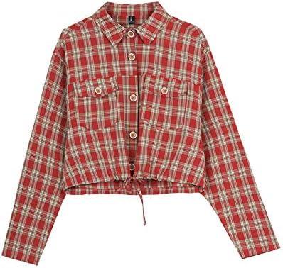 NZYQXGL Chaqueta Femenina Principios De Otoño Camisa Ligera Madura Camisa De Cuadros Retro Cardigan Corto Estampado Pequeño Manga Larga Camisa Salvaje Rojo M: Amazon.es: Deportes y aire libre