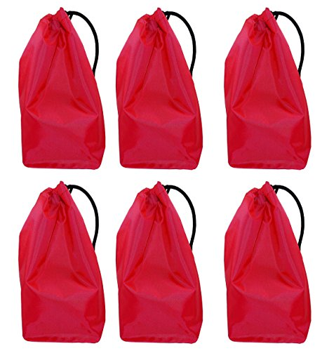 "Price comparison product image Drawstring Bags, 10"" Drawstring Pouch Bags - Water Repellant - Small Craft Bag, Gift Bag - Colorful Drawstring Cheap Bag for Small Storage, Toy Bag or Party Favor Bag - Red. Set of 6 Bags."